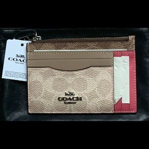 COACH Large Card Case in Blocked Signature Canvas